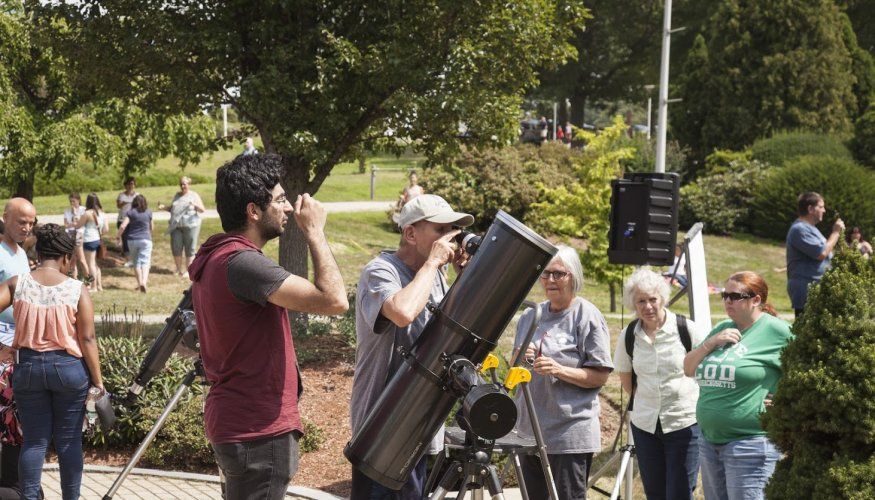 The QCC community experienced a rare partial solar eclipse.