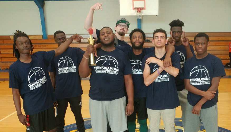 The 2018 Quinsigamond Community College's Intramural Basketball Champions. From left: Tyler Boafo, Aaron Emuso, Aaron Alexander, Adam Jackson, Alphe Gray, Anthony Baxter, Fodee Kromah, Shadrach Mensah.