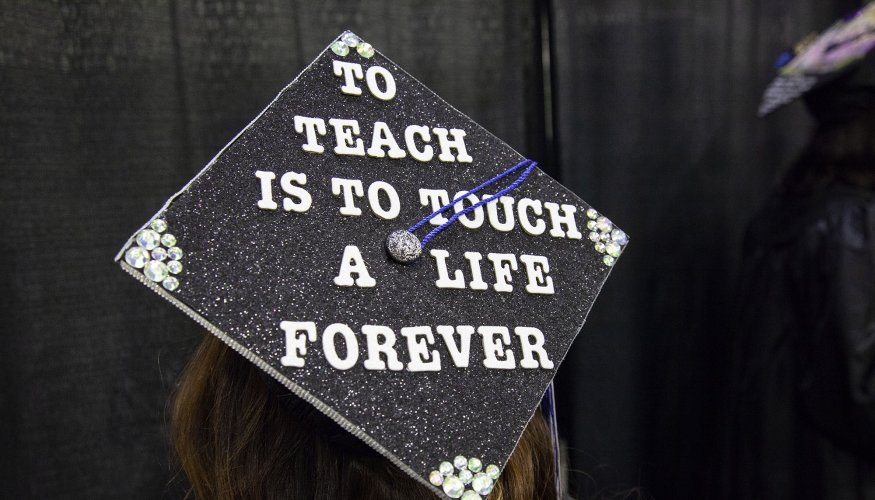 Cap text: To teach is to tough a life forever