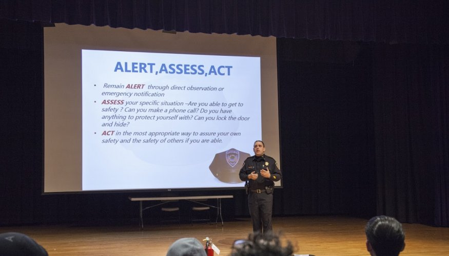 Deputy Chief of Operations Stephen DiGiovanni explains safety techniques.