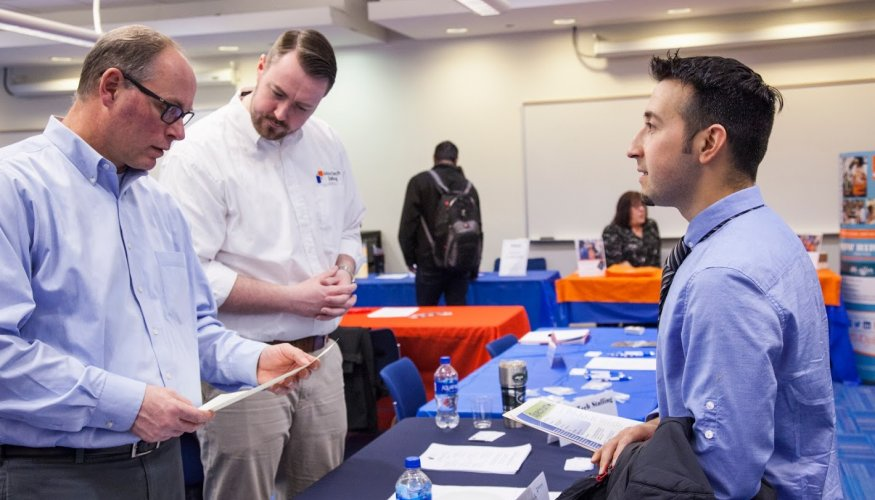 QCC students discussed possible job opportunities with perspective employers.