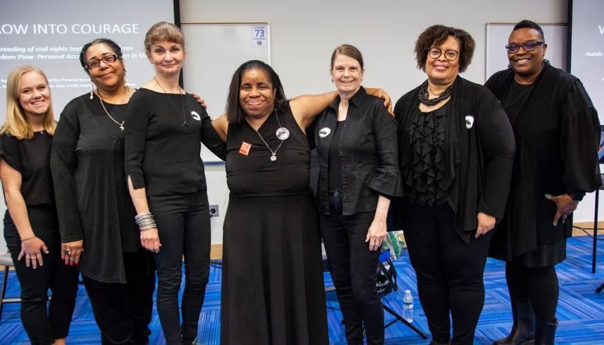 From left: Caylie Whiteside, Parlee Jones, Claire Schaffer-Duffy, Tina Gaffey, Regina Edmonds, Associate Professor of Human Serv