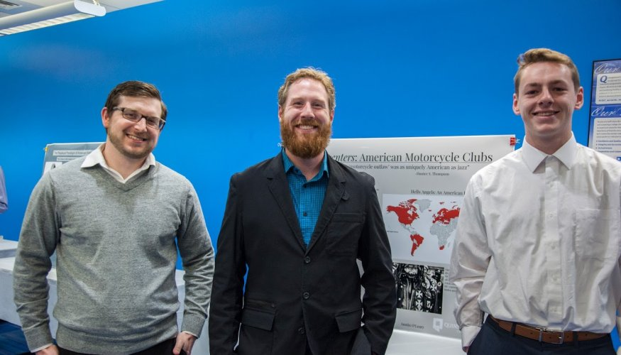 From left: Dr. Benjamin Wendorf, QCC Assistant Professor of English Michael Gormley and QCC student presenter Austin O'Leary.