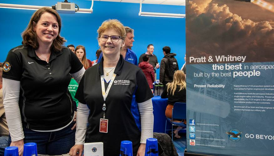 Pratt Whitney was a newcomer to QCC's Spring Job Fair.