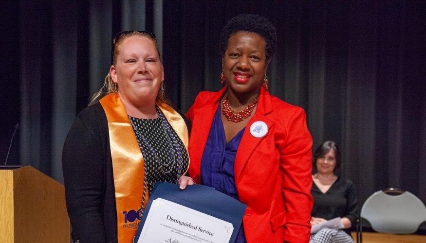 Ashley Forhan (left) with Criminal Justice Associate Professor Kristy Glover.