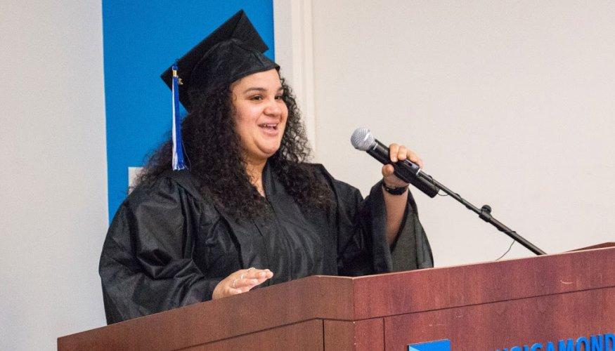 HiSET student speaker Priscilla Portalatin.