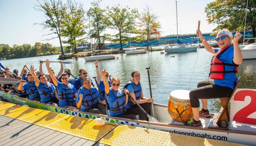 Current and former PTK students took part in the third Worcester Dragon Boat Festival.