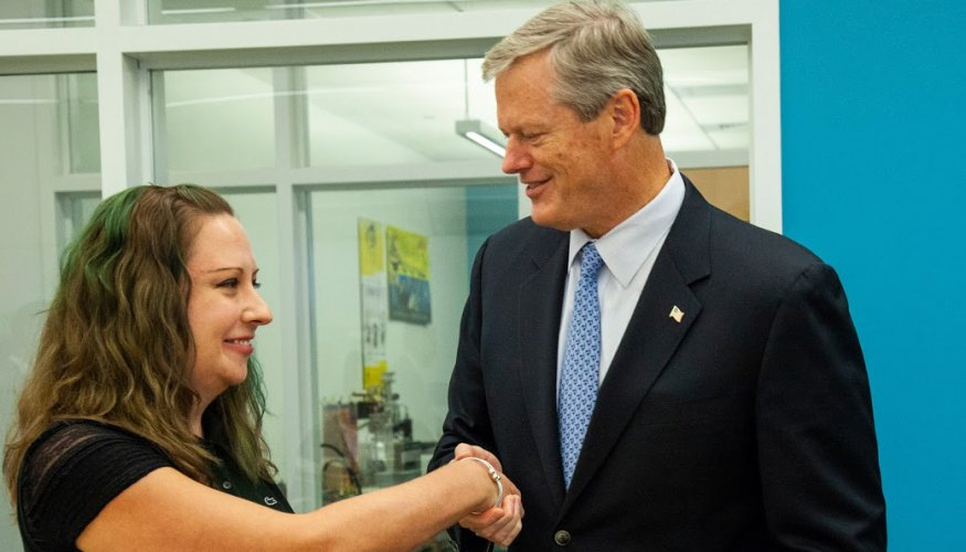QCC student Jennifer Bemis greets Governor Charlie Baker prior to a roundtable discussion on the MassGrant Plus program.
