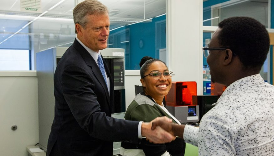 Governor Charlie Baker meets with QCC students Shantel Rutherford and Oliver Dogma.
