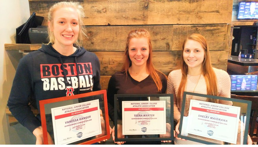 QCC Soccer All-Region Award Winners: From left- Vanessa Hanger ( All-Region 21 first team), Teena Manter (All –Region 21 second team), and Shelby Maiorana ( All- Region 21 second team).