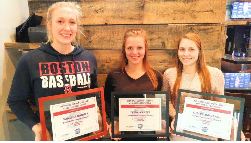 QCC Soccer All-Region Award Winners: From left- Vanessa Hanger ( All-Region 21 first team), Teena Manter (All –Region 21 second team), and Shelby Maiorana ( All- Region 21 second team).
