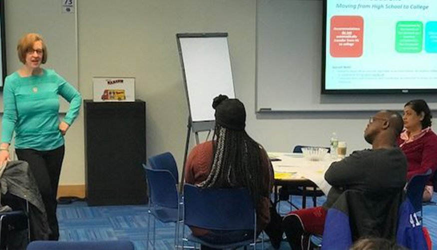 Parent Angela Colwell-Arbour spoke to other parents about the transition experience from high school to college.