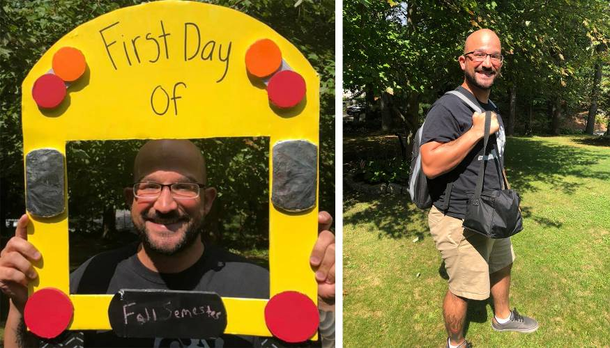 "Navy veteran Anthony ""Tony"" Barnardo shows his excitement on his first day of classes at QCC."