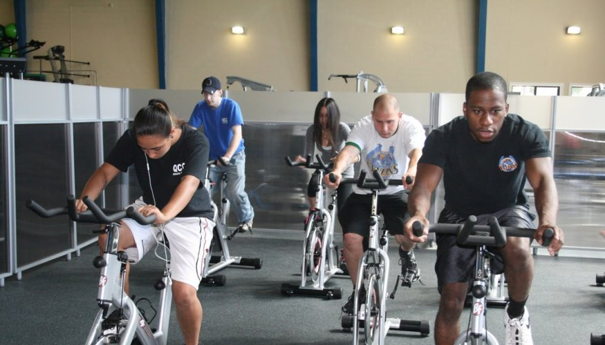 Indoor Cycling is a popular class at the QCC Athletic Center.