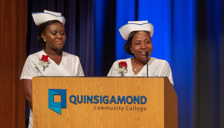 From left: Class Salutatorian Elizabeth Enyan Acheampong and Class Valedictorian Albertha Ajiboye