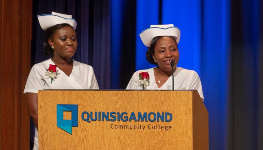 From left: Class Salutatorian Elizabeth Enyan Acheampong and Class Valedictorian Albertha Ajiboye