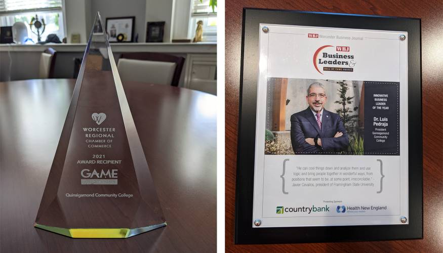 QCC's 2021 Game Changer Award (R), President Pedraja was named Innovative Business Leader of the Year by the WBJ.