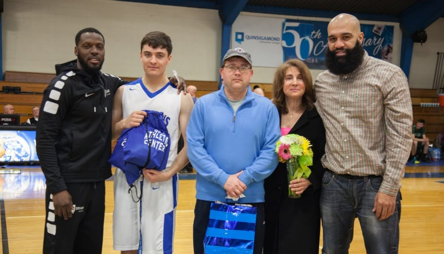 From left: Basketball Coach Tishaun Jenkins, Johnny Dombrowski, John Dombrowski (father), Lisa Saliba (mother) and Personal Coach Albert Ortiz.