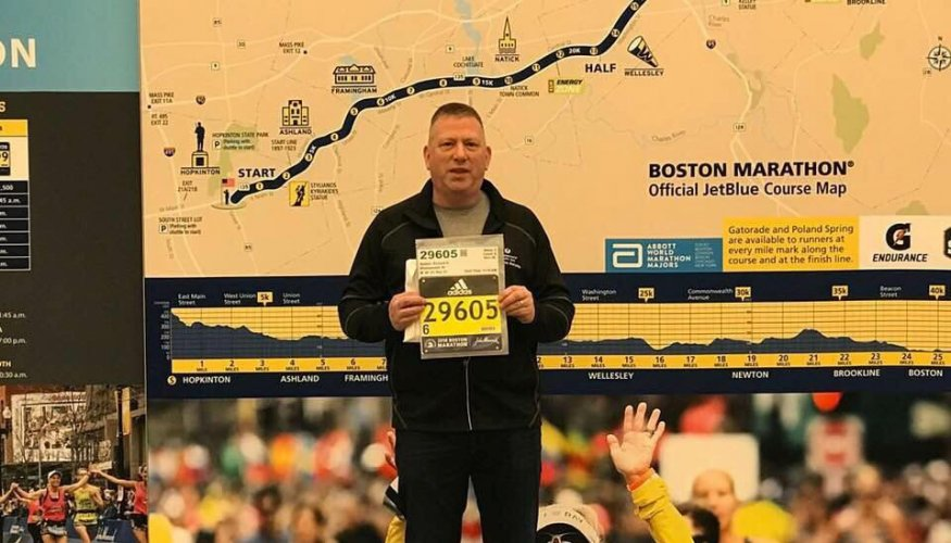 QCC alumni and part-time paramedic instructor Richard Nydam completes the Boston Marathon.