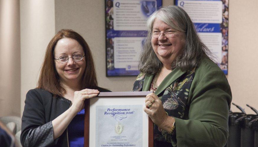 Gail presents CAPS service award