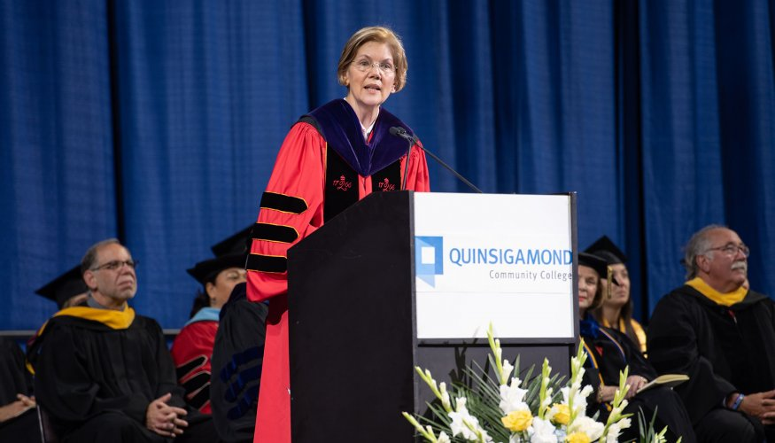 Senator Warren gives the keynote speech at QCC's 53rd Commencement.