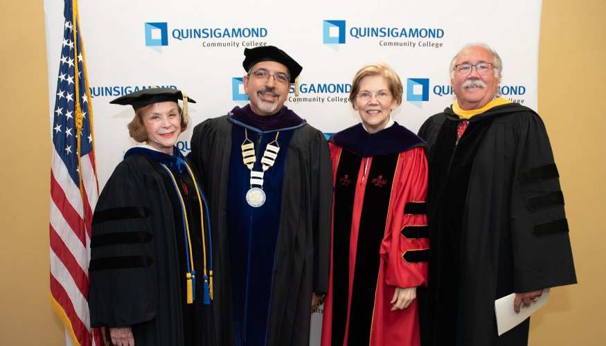 rom left: Senator Harriette Chandler, President Dr. Luis Pedraja, U.S. Senator Elizabeth Warren and Representative James O'Day
