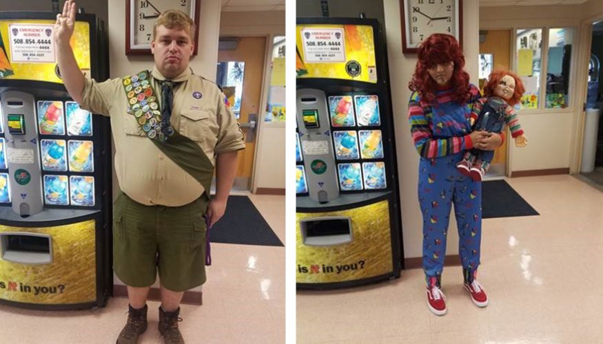 QCC students Ed Reitz and Veronica Valentin entered the Student Life Costume Contest.