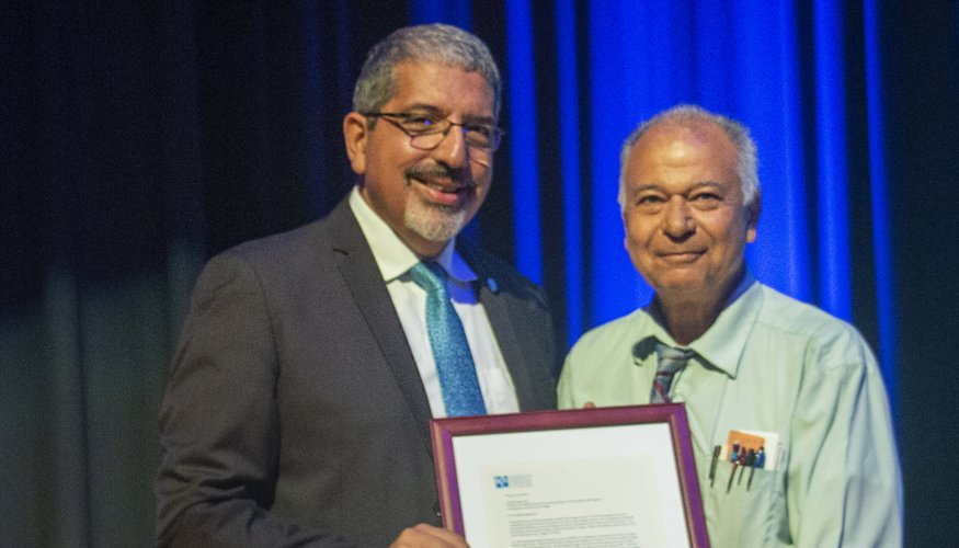 QCC President Dr. Luis Pedraja and Professor Dahbeh Bigonahy