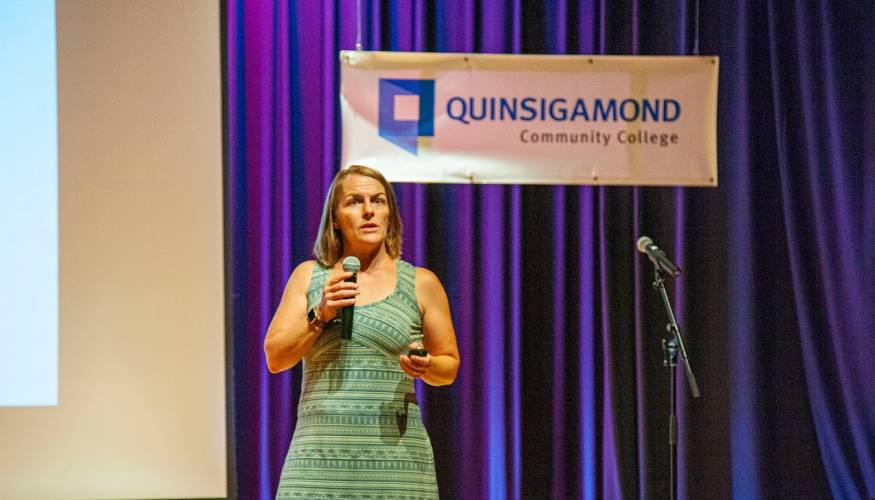 Addiction expert Dr. Ruth Potee gives a compelling talk about addiction at QCC.