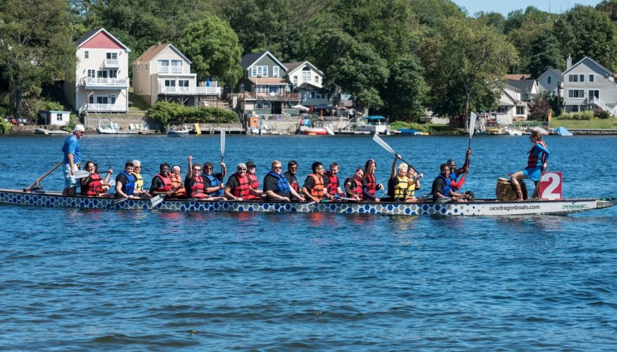 Quinsigamond Wyverns paddling back after their heat.