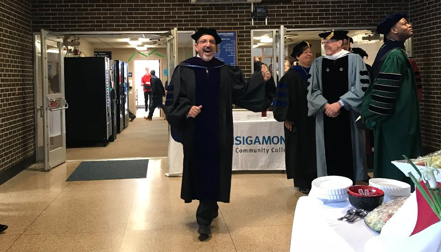 Dr. Luis Pedraja enjoys his Inauguration Day.
