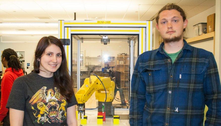 QCC students Sarah Dinsmore and Cody Hamilton.