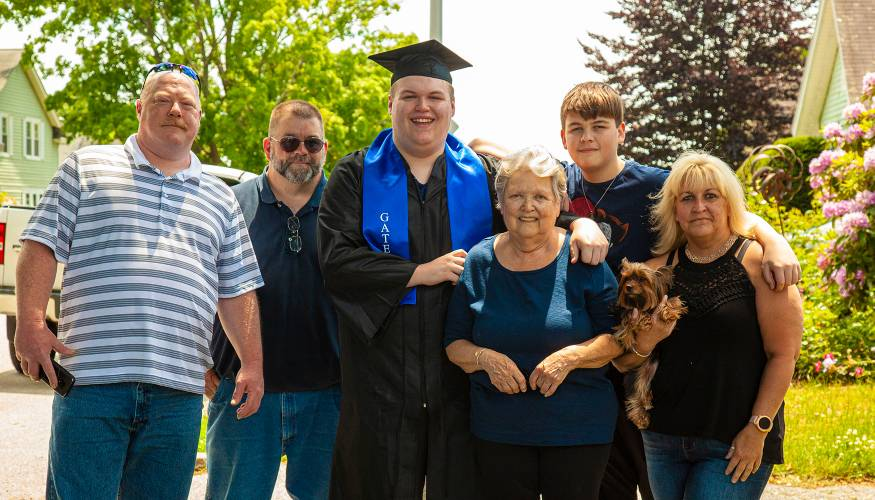 Gateway graduate Jared Mosely celebrates with his family.