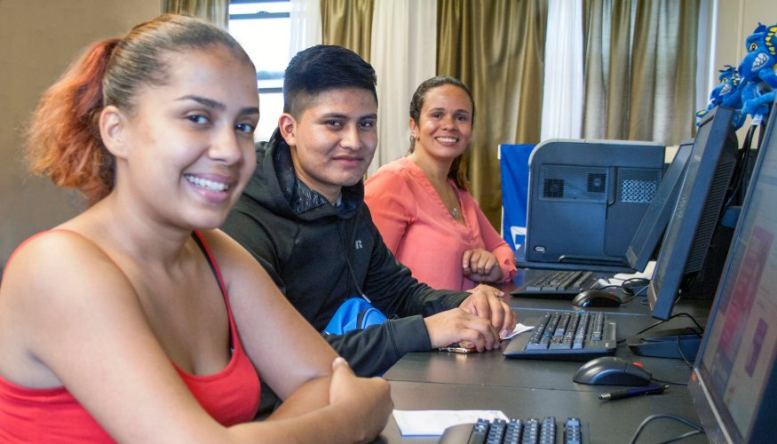QCC students try out the new Community Learning Hub at Great Brook Valley.