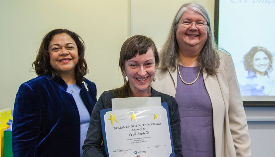 student receives Women of Distinction award