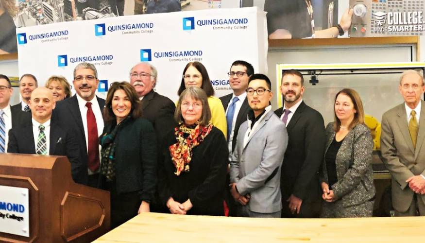 Lt. Governor Karyn Polito,along with regional workforce leaders, state and local officials visited QCC's QuEST Center in January