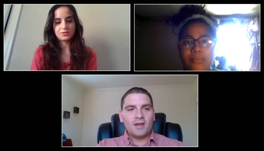 QCC's Director of Mentoring, Gabriel Santner holds a Zoom interview with mentor Hanan Ibraheim and mentee Ibeliz Garcia.