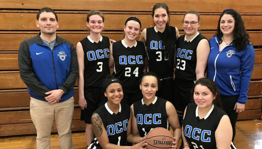 The 2019 Women's Basketball team with Coach Gabe Santner and NJCAA Region XXI Honorable Mention player Kayla Morrison (#3).
