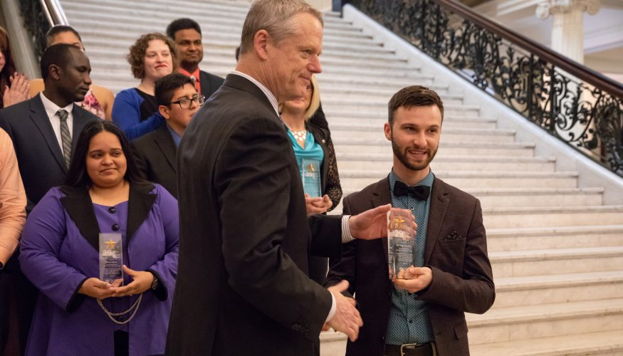 """Kyle Mondino is recognized by Governor Charlie Baker as one of the """"29 Who Shine."""""""
