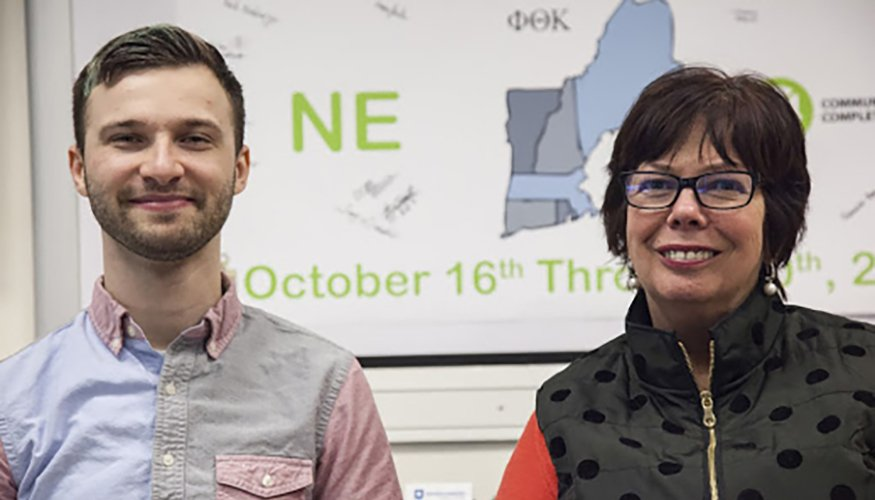 QCC Student and PTK Member Kyle Mondino with PTK Advisor Bonnie Coleman