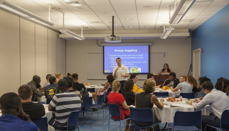 QCC students attend first leadership workshop.