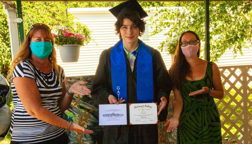 From left: Gateway to College Director Marci Skillings, graduate Joe Poirier and Gateway Counselor Jenna Glazer.