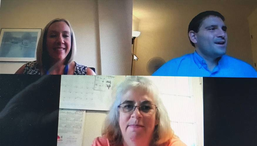 From left: Mentor Kara Wiersma, mentee Kristen Peters and Director of Mentoring Gabe Satner on a recent Zoom discussion.