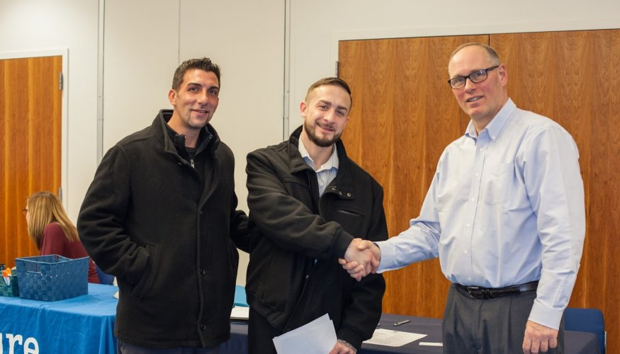 QCC alumi Tommy Moore along with Carreu Kamanda met with Recruiter Jim March of Microtech staffing Group.