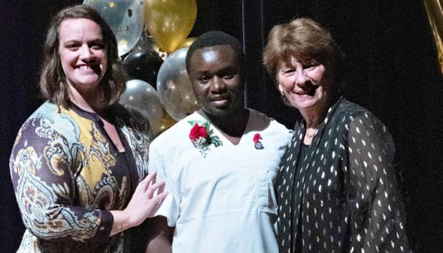 From left: Kendra Furtek, nursing graduate from the day program,Patrick Muthee, and Nurse Education Professor Patricia Creelman.