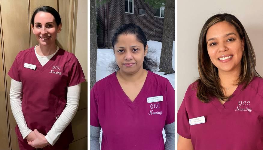 QCC nursing students from left: René Latino, Paramita Pal Roy and Angela Yarborough.