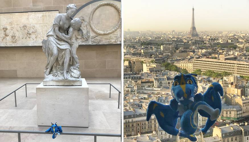 The Wyvern enjoyed a morning at the Louvre Museum (L) but only wanted to see the Eiffel Tower from a distance.