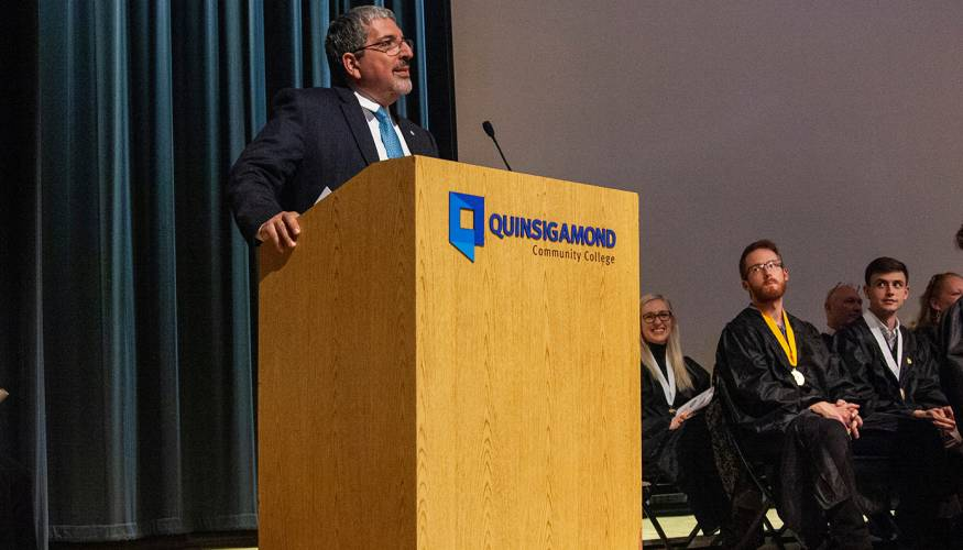 QCC President Dr. Luis Pedraja speaks at the 39th PTK Induction Ceremony.