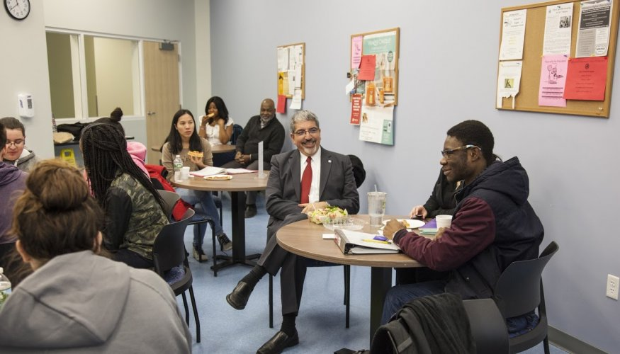 Many students turned out to visit with QCC's President, Dr. Luis G. Pedraja at the recent Pizza with the President held at the Center for Workforce Development and Continuing Education in downtown Worcester