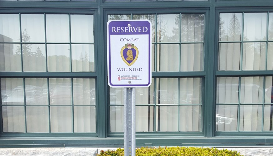 There is now dedicated parking for Purple Heart recipients in Southbridge